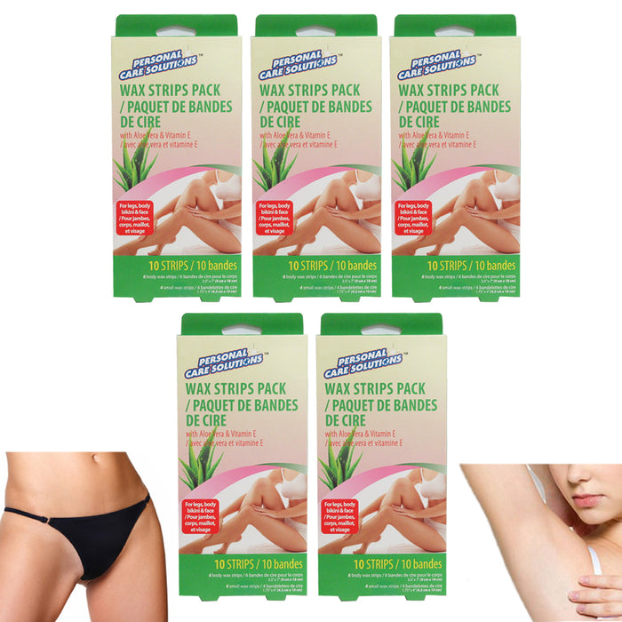 50 Ct Wax Strips Hair Removal Kit Underarms Bikini Face Legs Facial & Body Sizes
