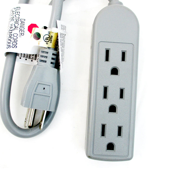 Extension Cord 3 Outlet Power Strip 1.5 Ft Grounded Office Home 125V 60Hz 13A