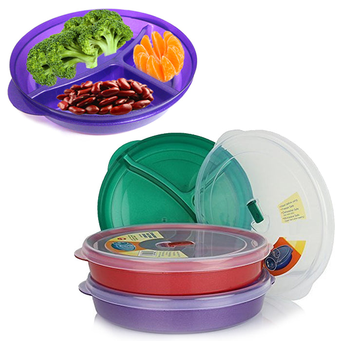 2 Pack BPA-Free Divided Plates w Lids Microwave Dishwasher Safe Lunch Containers