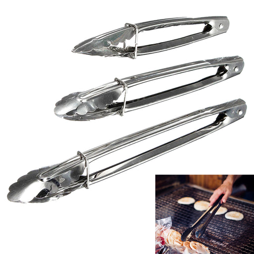 "3 Set Multi Purpose Metal Kitchen Tongs Food Serving Salad BBQ Cooking 7"" 9"" 12"""