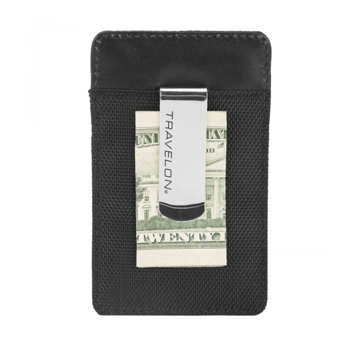 Travelon Genuine Leather Money Clip Wallet RFID Blocking Credit Card Case ID Blk