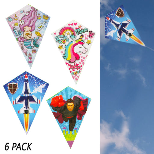 6 Pack Diamond Kite Easy Flyer Kids Outdoor Games Fun Beach Park Fly Plastic Toy