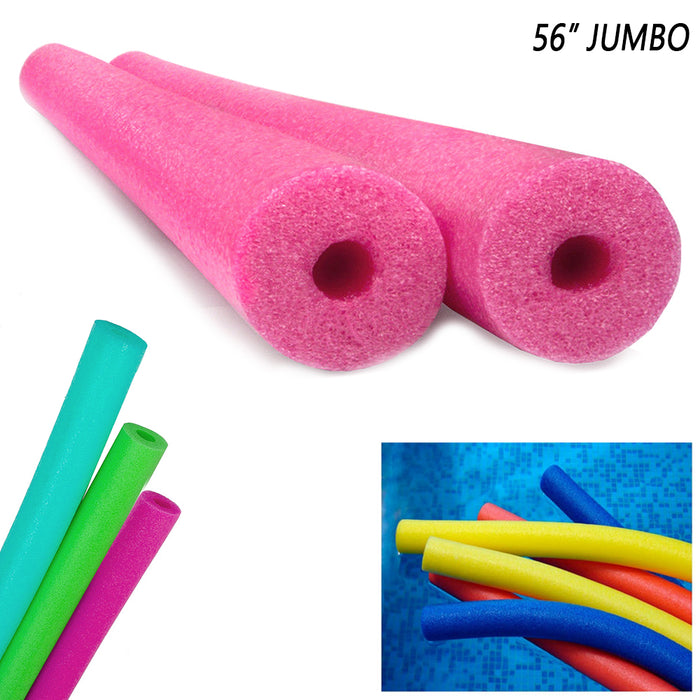 "4 Pack Deluxe Jumbo Swimming Pool Noodles 56"" Foam Floatie Multi Purpose Therapy"