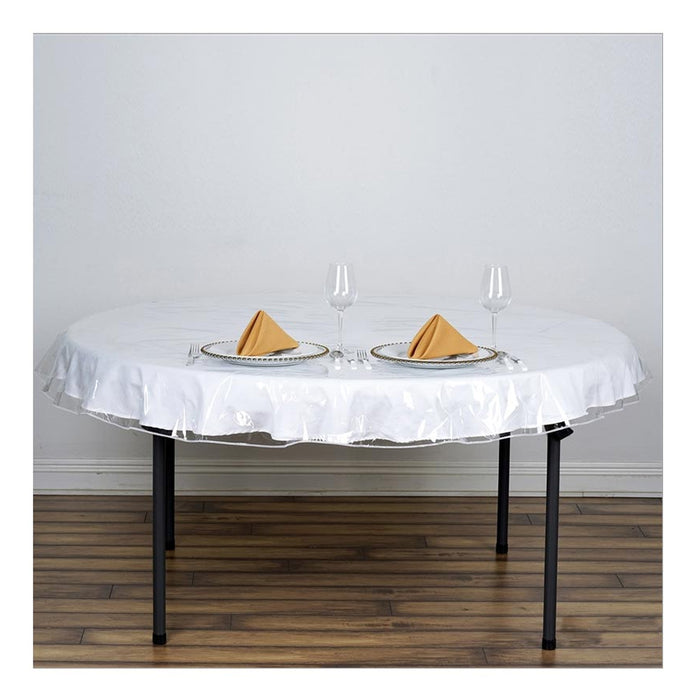 "Table Cover Crystal Clear Vinyl Heavy Duty Tablecloth Spill Protector 70"" Round"