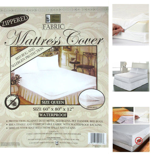 1 Queen Size Zippered Mattress Cover Waterproof Bed Bug Dust Mite Protect Fabric