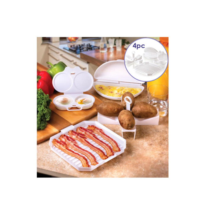 4 PC Microwave Starter Set Eggs Bacon Potatoes Baker Tray Microweavable Cooker !