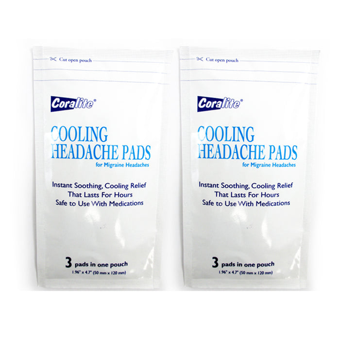 6 Pc Cooling Migraine Headache Pads Soothing Pain Relief Therapy Coralite New !