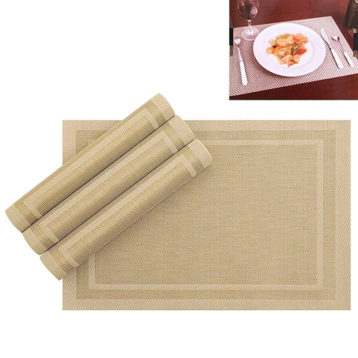 8pc Set Pvc Dining Room Table Mats Heat Insulation Tan Woven Placemats Alltopbargains