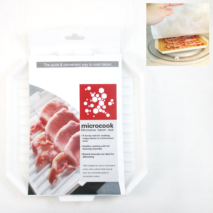 Microwavable Oven Bacon Rack Cooker Tray Cook Bar Crisp Breakfast Meal Home Dorm