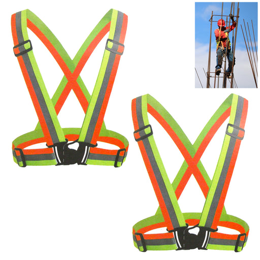 2PC High Visibility Reflective Safety Vests Adjustable Lightweight Outdoor Walk