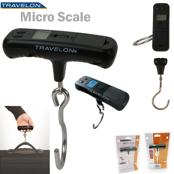 Travelon Micro Luggage Scale Digital Portable Hanging Electronic 110Lbs Suitcase