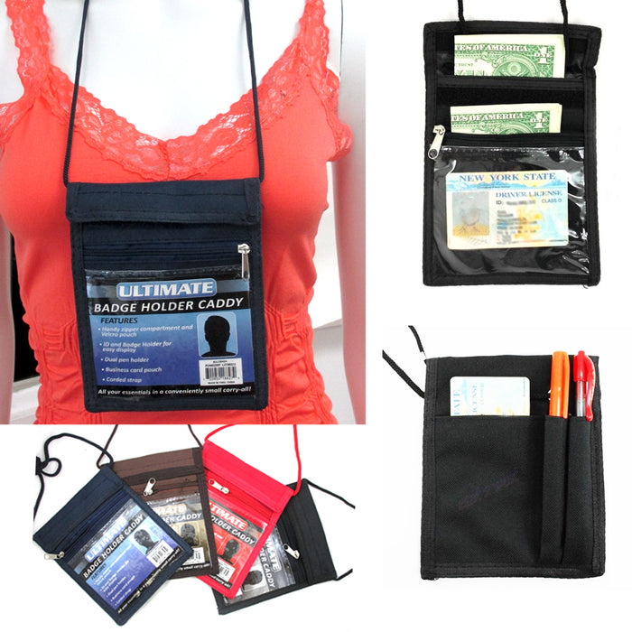4 Badge Holder Caddy Neck Pouch Holders Passport ID Travel Neck Wallet Black