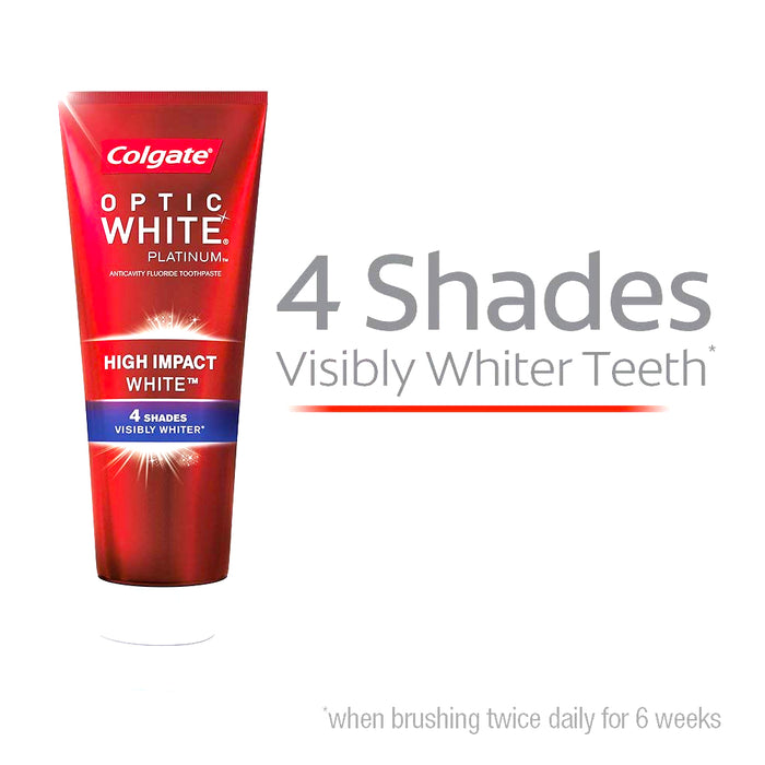 2 Pack Colgate Optic White High Impact Whitening Toothpaste 3 oz Visibly Whiter