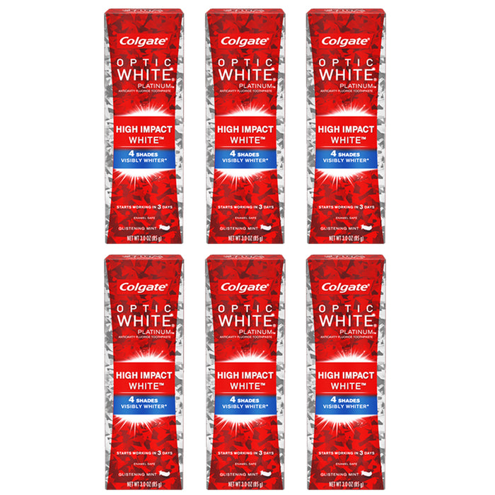 6 Packs Colgate High Impact Optic White Toothpaste Visibly Whiter Whitening 3 oz