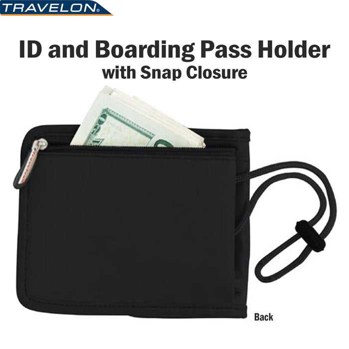 Travelon ID Boarding Pass Holder Snap Closure Secure Passport Travel Wallet Neck