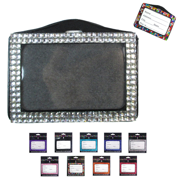 10X Rhinestone Horizontal ID Card Holders Badge Lanyard Color Case Name Tag Gift