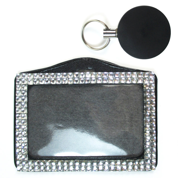 2X Rhinestone Retractable Badge Reel Horizontal ID Card Holder Combo Set Lanyard