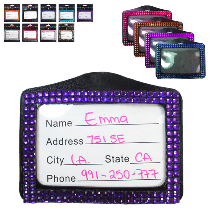 4X Rhinestone Badge Horizontal ID Card Holder Color Combo Set Case Clear Lanyard