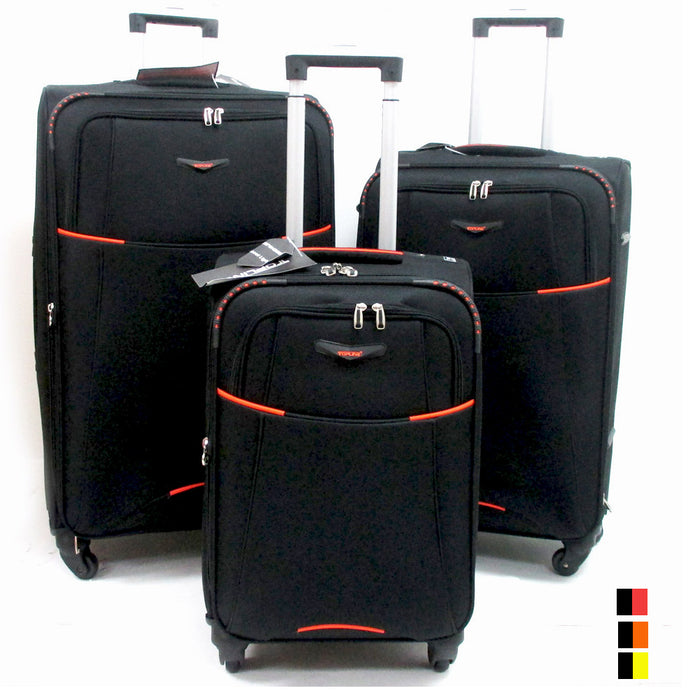 3 Pc Black Expandable Spinner Rolling Suitcase Luggage Travel Set Carry On New !