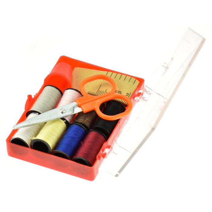 Sewing Kit Thread Threader Needle Tape Measure Scissors Storage Box Travel New