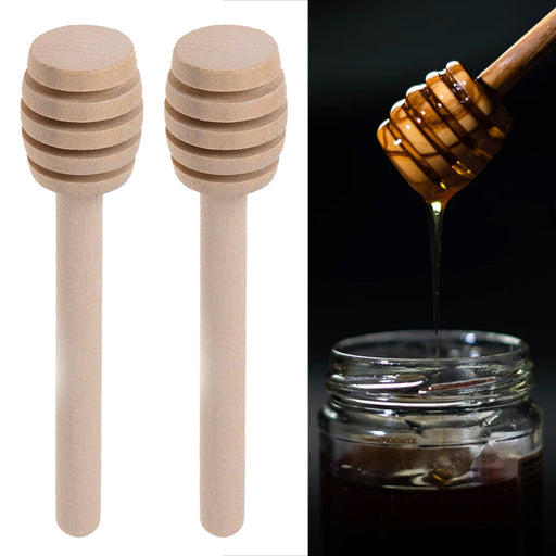 "2 Pack Wooden Honey Dippers 6"" Drizzle Stirring Stick Server Muddle Dispense Jar"