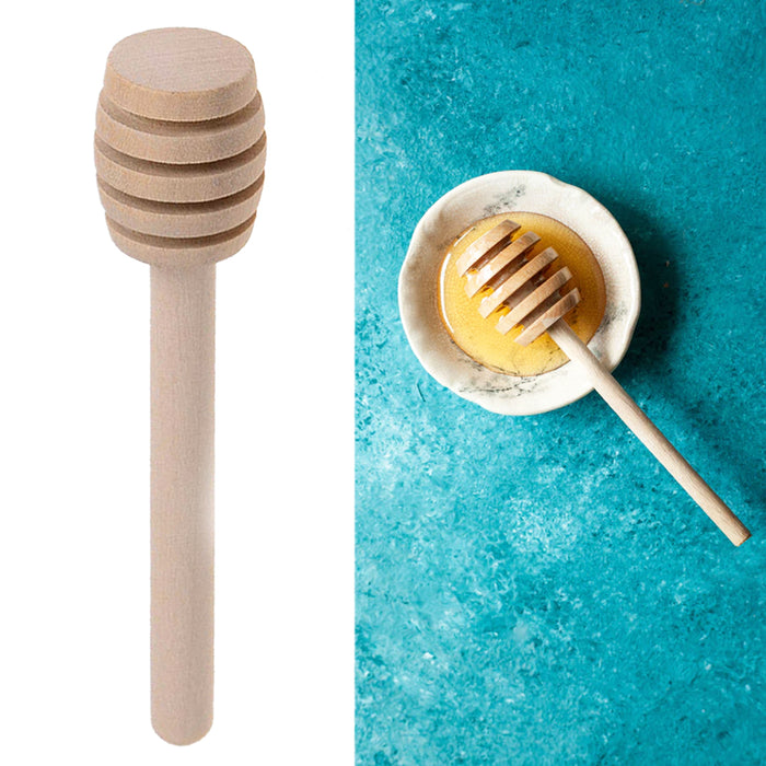 Wooden Honey Dipper Drizzler Stirring Stick Syrup Maple Dispense Spoon Server 6""