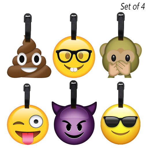 4 Pack Emoji Luggage Tags Travel Bag Name Address ID Label Suitcase Baggage Gift