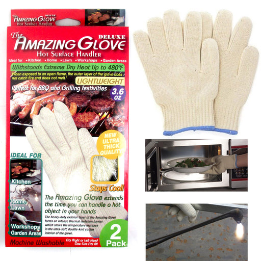 2 Heat Proof Oven Mitt Gloves Resistant Cooking Kitchen 48 F Hot Surface Handler