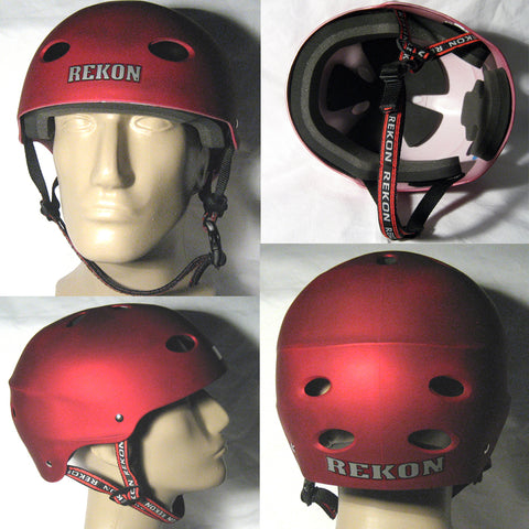 Rekon Helmet Bike Skate Skateboard BMX Kitesurf Kiteboarding Red Black Men New