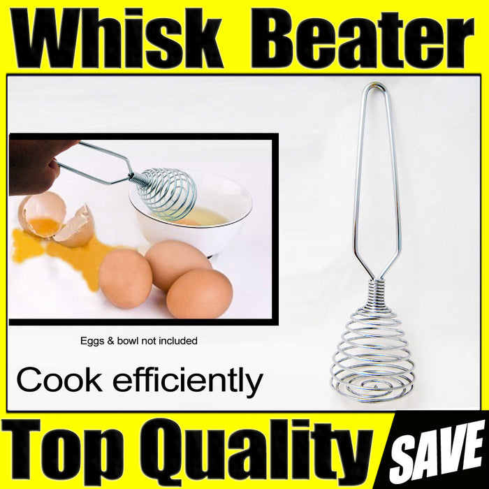 FRENCH WHISK EGG BEATER CHROME STEEL COIL WIRE WHIP CHEF HAND HANDLE NEW COOK