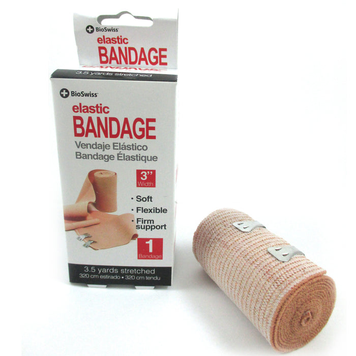 "Lot Of 6 Elastic Bandages 3"" Body Wrap Ankle Wrist Foot Sports First Aid Kit"