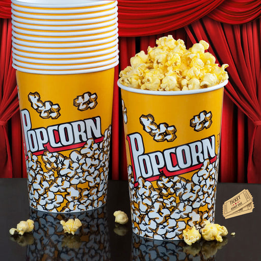 200 Pc Large Reusable Plastic Popcorn Tub Container Movies Super Bowl Round LOT