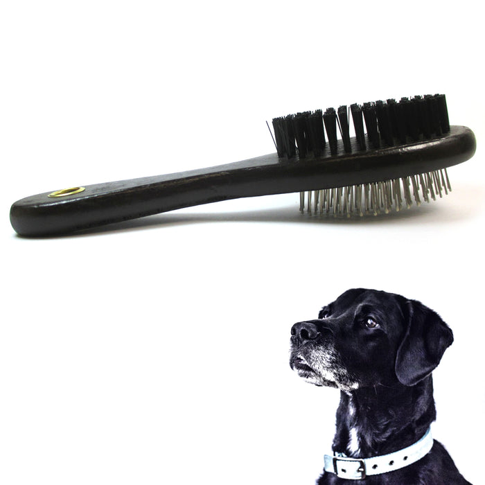 2 PC Double Side Bristle Pin Pet Dog Cat Hair Grooming Brush Fur Shedding Comb