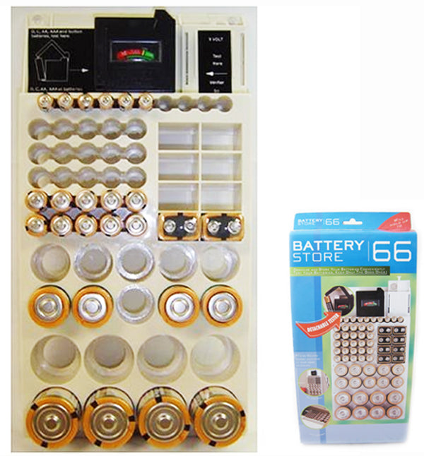 Battery Storage Rack Organizer Removable Tester Holds 66 Holder AAA 9V C D New