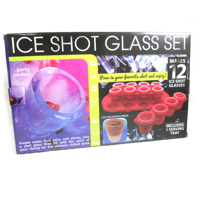 12 Ice Shot Glass Maker Frozen Mold Cold Tray Party Bar Alcohol Shooter Plastic