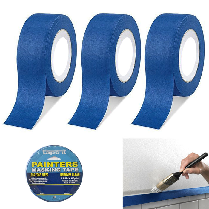 "3 Rolls Painters Blue Masking Paint Tape 1.89""X60yds Multi Purpose Premium Grade"