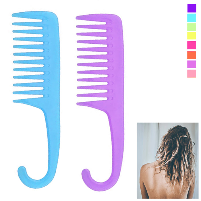 2 Shower Combs Hair Wide Tooth Dry Wet Gently Detangles Thick Long Durable Salon