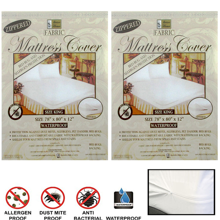 2X King Size Mattress Cover Zippered Fabric Protect Bed Dust Mite Bug Waterproof