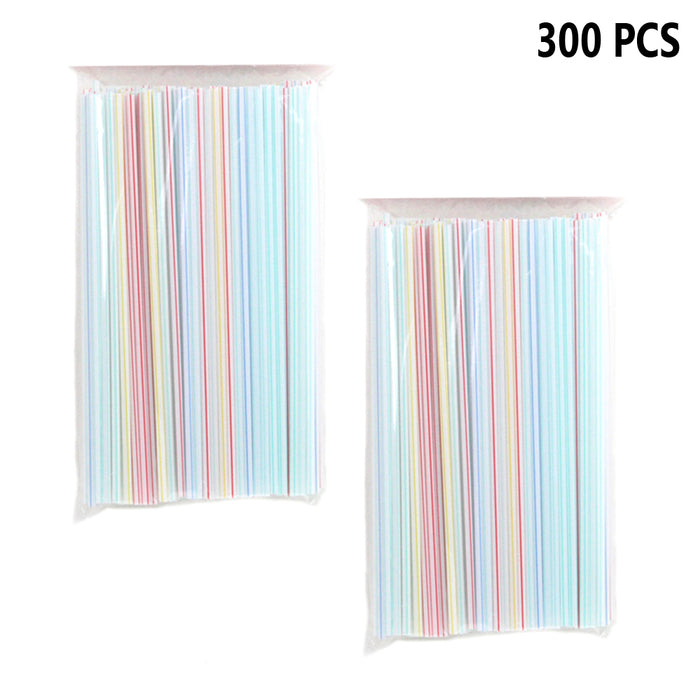 "300PC Plastic Straight Straws Disposable Assorted Colors Striped 9"" Drinking Bar"