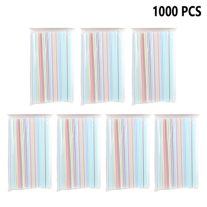 "1000PC Striped Straight Straws 9"" Plastic Disposable Cocktail Drinking Bar Party"