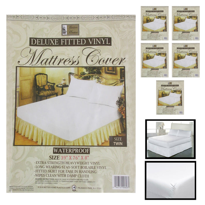 6X Twin Size Fitted Mattress Covers Vinyl Waterproof Allergy Dust Bugs Protector