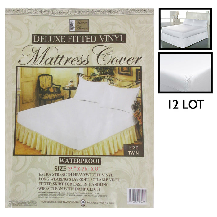 12 Twin Size Fitted Mattress Cover Vinyl Waterproof Allergy Dust Bug Protect Lot