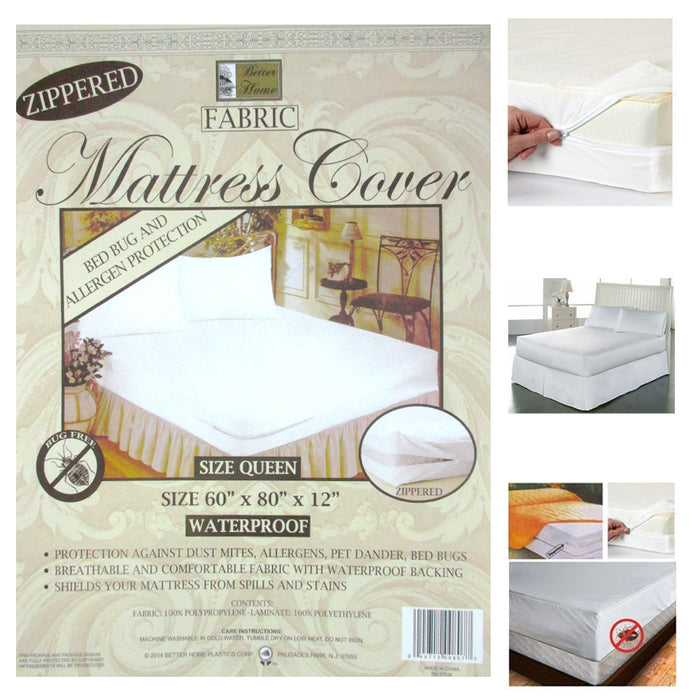 2 Queen Size Zippered Mattress Cover Waterproof Bed Bug Dust Mite Protect Fabric