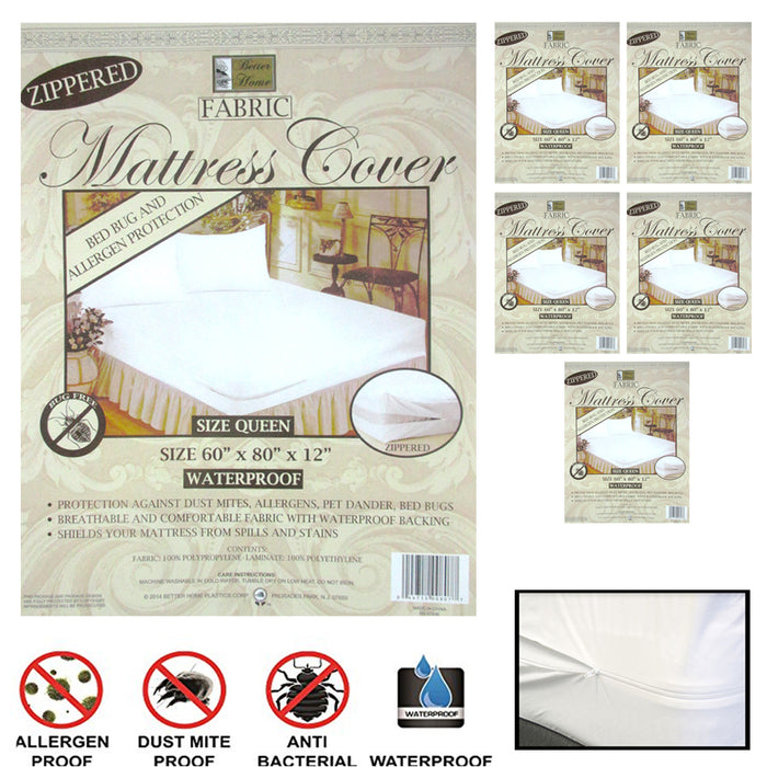6X Queen Size Zippered Mattress Cover Waterproof Bed Bug Dust Protect Fabric Set
