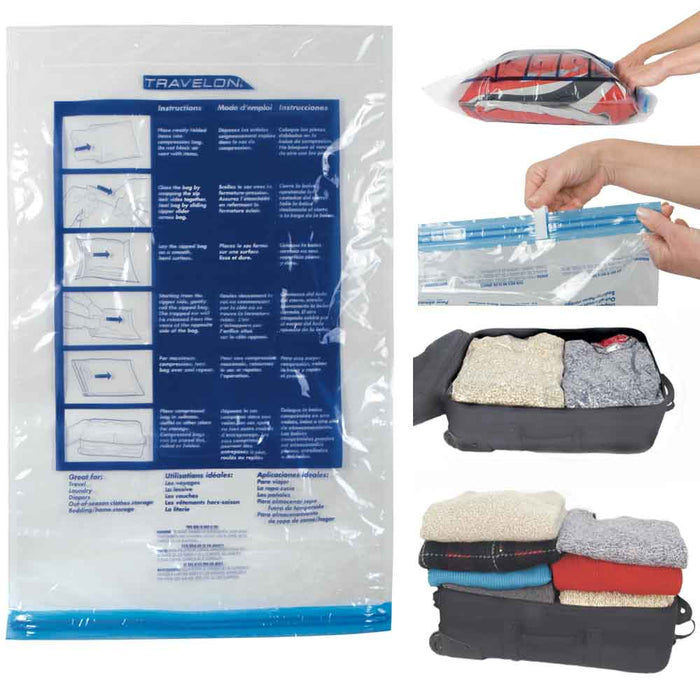 Space Saving Travel Compression Bags Packing Roll Up Storage Travelon Set Of 2 !