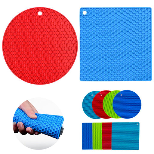 2 Set Silicone Pot Holder Round Square Trivet Mats Non-slip Heat Resistant Mitts