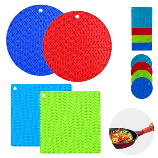 4PC Silicone Trivet Pot Holder Non Slip Mat Heat Resistant Spoon Rest Jar Opener