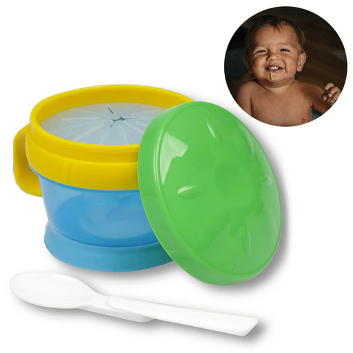 2-in-1 Baby Toddler Snack Catcher Cup & Feeding Bowl w/ Spoon Container BPA Free