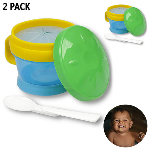 2 Pack Snack Catcher Baby Toddler Cup & Feeding Bowl w/ Spoon BPA Free Container