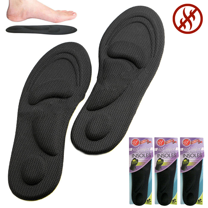 3 Pairs Odor Destroying Insoles 4D Comfort Heavy Duty Cushion Pain Relief Unisex
